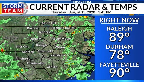 WNCN current temperatures