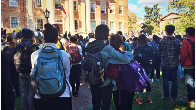 UNC students walk out to protest Trump's election