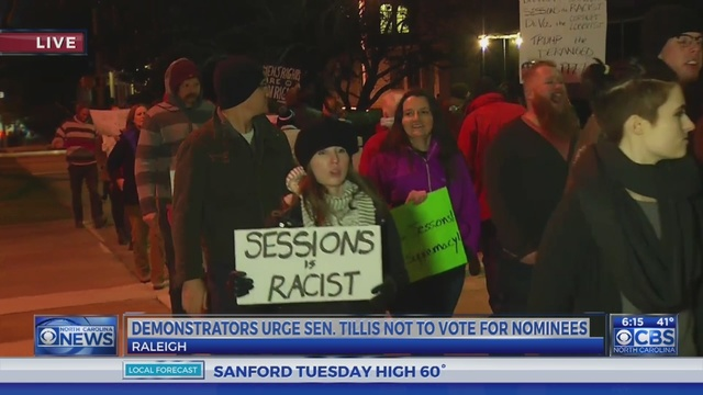 Groups protest outside Tillis' NC offices ahead of Attorney General vote