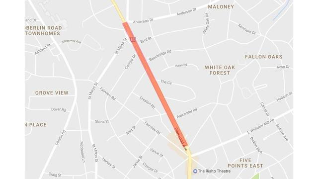Waterline replacement to close section of Raleigh's Glenwood Avenue