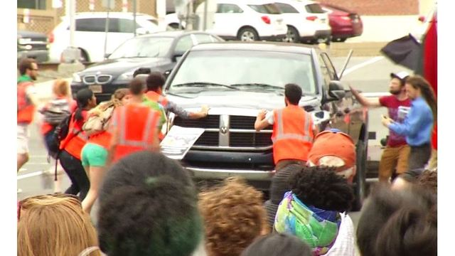 Caught on video: Pickup truck driver goes through Durham protest