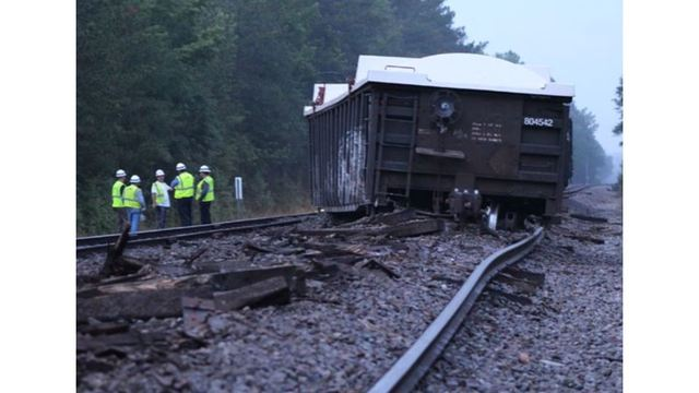 8 train cars carrying coal ash derail in Moore County early Monday