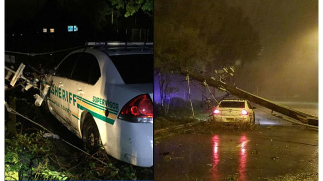 Deputy and paramedic trapped for hours in Florida after live wires fall on car