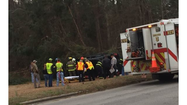 Driver hits curb, car goes airborne into trees in Rocky Mount, officials say