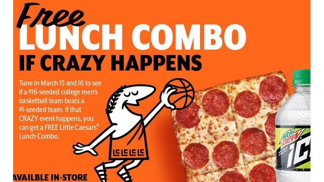 Little Caesars is giving away free pizza after NCAA upset