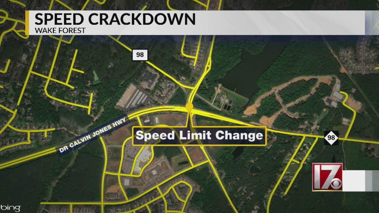 Speed limit reduced on part of Wake Forest road